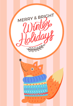 Merry Christmas and bright winter holidays, poster with smiling fox in sweater red stripes. Vector with squirrel sitting in blue knitted warm clothes