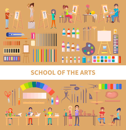 School of arts isolated vector illustration with diligent students during class along with their artworks, useful tools and instruments on light brown 일러스트
