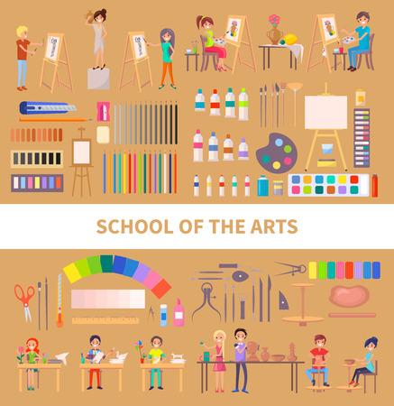 De school van kunsten isoleerde vectorillustratie met ijverige studenten tijdens klasse samen met hun kunstwerken, nuttige hulpmiddelen en instrumenten op lichtbruin