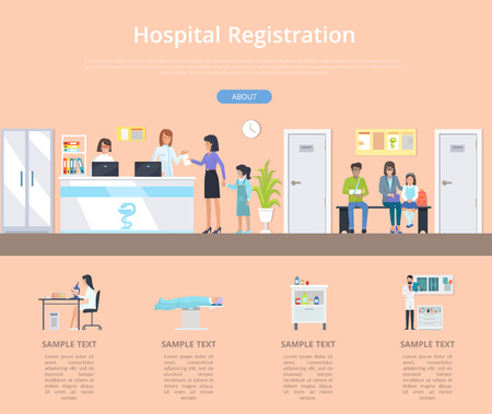Hospital registration desk with two nurses and few patients with appointments and injuries. Vector illustration of clinic front desk on orange background
