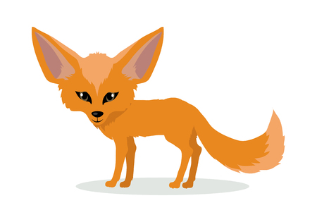 Fennec fox cartoon character. Cute red fennec fox flat vector isolated on white background. African fauna. Fennec icon. Wild animal illustration for zoo ad, nature concept, children book illustrating Vettoriali