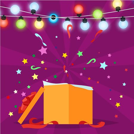 Gift box with Christmas lights of garland on purple. Vector illustration of opened New Year present wrapped in orange paper with confetti splashes