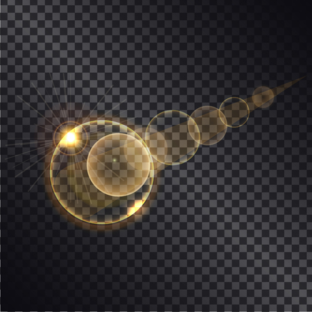 Golden light effects of circles growing round spheres isolated on black transparent background. Glowing sparkling elements, vector illustration of gold balls on transparency magically illuminated Illustration