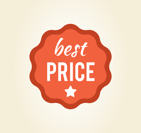 Best price circular sticker with star and headline written in interesting font, promotion of products in shops vector illustration isolated on white