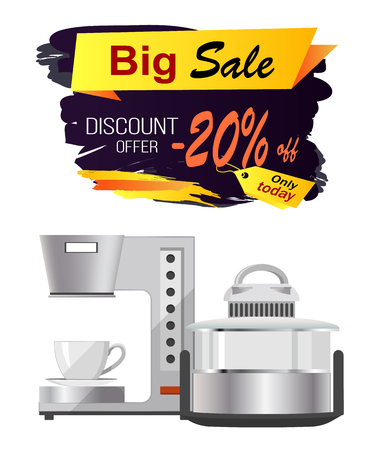Big sale discount offer advert on white background. Vector illustration with special offer on coffee machine and other kitchen equipment Ilustração