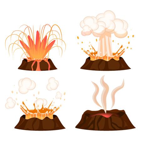 火山噴火段階はベクトル イラスト セットです。蒸し火山、熱く燃える溶岩アプローチ、スプラッシュ、白い背景で隔離の広がり。フラットなデザイ  イラスト・ベクター素材