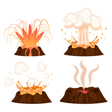 Volcanic eruption stages vector illustrations set. Steaming volcano, hot burning lava approach, splash and spreading isolated on white background. Vulcanology concept in flat design cartoon style Иллюстрация