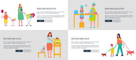 Mom and daughter, mother with child vector web posters set with parent teaching girl to cook, woman with infant walking, feeding baby, making shopping