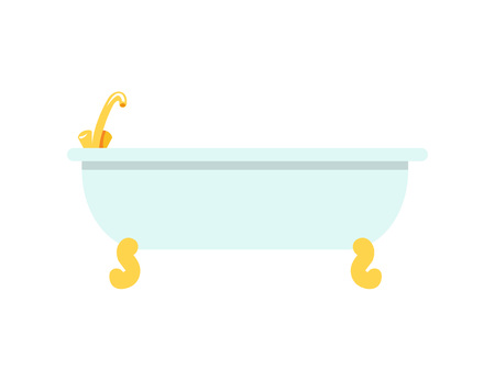 White beaming bath with tiny banded golden legs and shiny faucet. Vector illustration with deep rounded bath isolated on white background