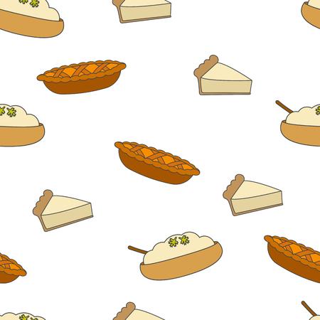 新鮮なペストリーシームレスなパターン。白い背景にハーブフラットベクトルと焼きアップルパイ、ケーキとプリンの一部。包装紙、布地にプリン