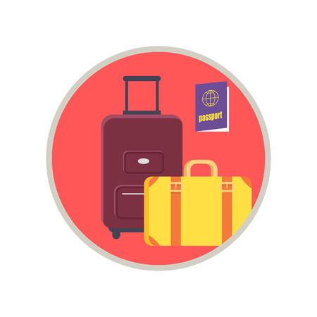 丸いピンクのフレームに囲まれたロードバッグ、スーツケース、パスポート。白い背景に隔離された荷物を持つアイコンの場合のベクトルイラスト