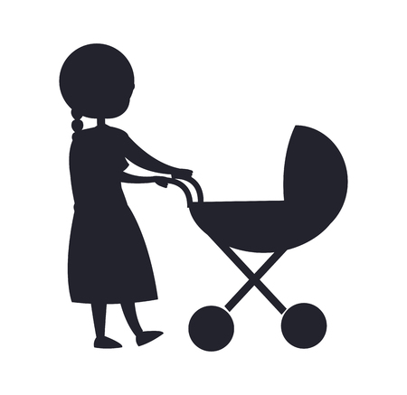 Happy grandparent senior lady with trolley pram taking care about newborn child vector colorless illustration black silhouette