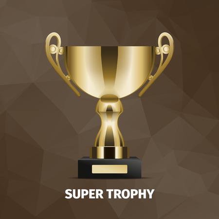 Trofeo super dorato brillante con due manici e base nera. Archivio Fotografico - 91114775