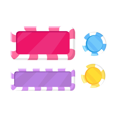Vector illustration of striped round and rectangular gambling elements in flat design cartoon style.