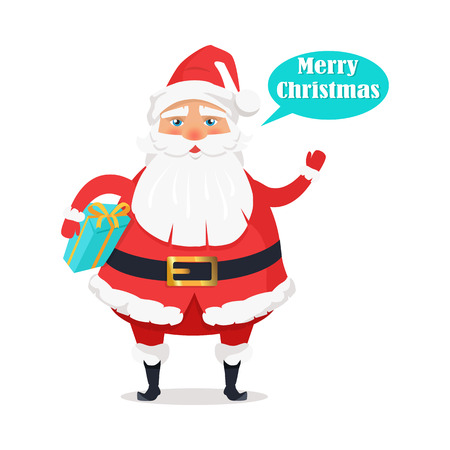 Plump Santa Claus isolated with holds gift box, waves his hand and says Merry Christmas. Traditional happy cartoon symbol of Christmas and New Year in red clothes and with white beard on white. Vector