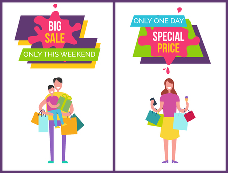 Big sale only this weekend, only one day special price posters with images and headline samples in frames vector illustration isolated on white Illustration