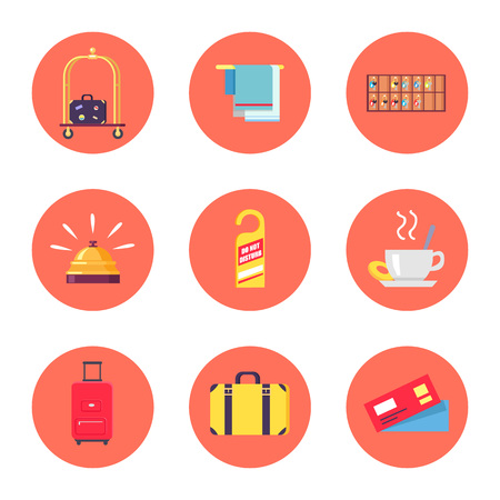 Icons with luggage and hotel stuff like bellmen s cart, towels, do not disturb sign. Vector illustration with icons isolated on white background