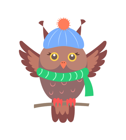 Closeup of brown owl sitting on branch and wearing blue hat and green knitted scarf, represented on vector illustration isolated on white