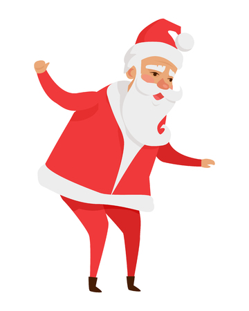 Santa Claus with Stretched Arms Isolated on White. Ilustração
