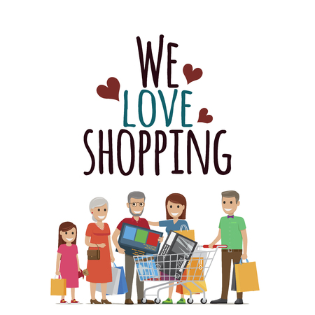 We Love Shopping Family with Purchases on White Illusztráció