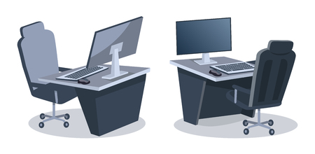 Two desks with computers and comfortable office chairs isolated on white background. Vector illustration with two desktops equipped with wide lcd monitors