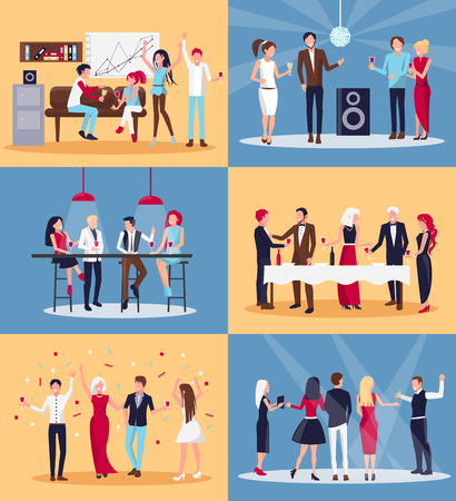 People having fun together in night club and office and drinking wine on vector illustration isolated on yellow and blue background