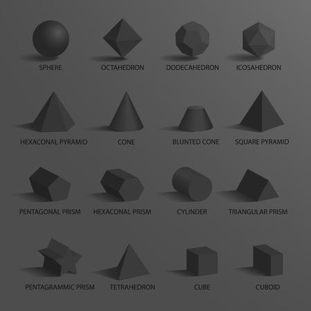 구면 및 프리즘, 원뿔 및 12 면체와 8 면체, 벡터 일러스트 레이 션에서 그들 아래 제목과 셰이프 등 다른 기하학적 모양 집합.