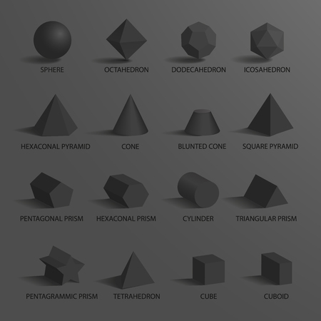 Sphere and set of other geometric shapes including prisms, cone and octahedron with dodecahedron, shapes with titles below them on vector illustration.