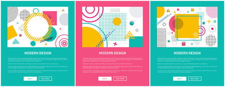 Modern design with pattern, abstraction consisting of shapes, stripes and lines, text below headline and buttons vector illustration.