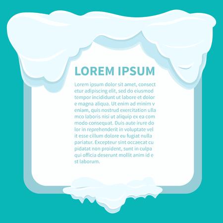 Azure の背景に白い雪片の下に情報を含む正方形の白いフレーム。平らな冬のスタイルで散らばった白い雪片と孤立したお祝いのフレームリーフレッ  イラスト・ベクター素材
