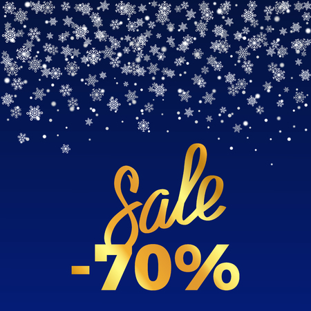 Sale -70 , poster depicting discount with snowflakes as decorative elements vector illustration isolated on dark-blue with gold inscription
