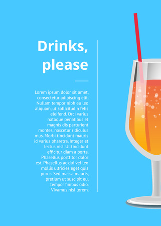 Drinks please poster with lemonade cocktail in glass with straw vector illustration isolated on blue with place for text, orange cocktail with bubbles
