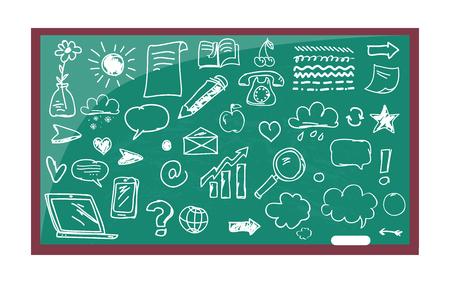 Blackboard with Drawn Images Vector Illustration 矢量图像