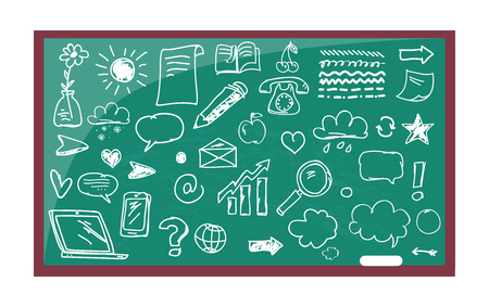 Blackboard with Drawn Images Vector Illustration Vettoriali
