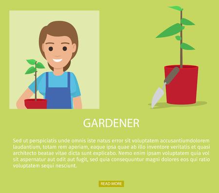 Gardener Advertisement Web Page Vector Banner Illustration
