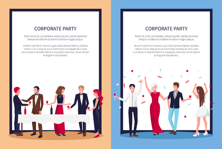 Corporate Party Posters Set Text Sample and People