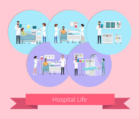 病院生活可視化ベクトルイラスト