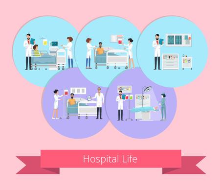 Hospital Life Visualization Vector Illustration