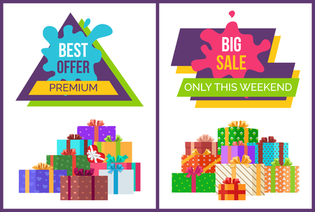 Big sale only for this weekend promotional poster with gift boxes in big heap and sign on paint blot isolated vector illustrations. Illusztráció