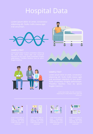 Hospital data poster with patients, doctors and graphs representing statistics. Vector illustration with hospital equipment on light background Illustration