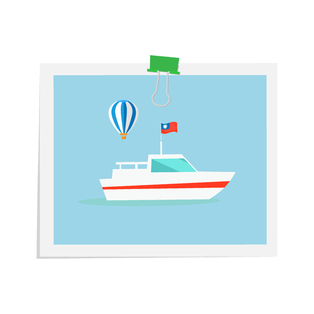 Ship drawn on isolated image attached by green binder. Vector colorful illustration in flat design with white background of floating mean of transportation with flag on water and flying air balloon