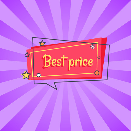 Best price proposition banner in square speech bubble with stars and snowball, vector on red backdrop isolated on purple rays. Special offer in store