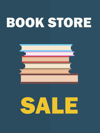 Banner dedicated to International Book Day vector illustration on blue background. Store sale poster with pile of books close up Ilustração