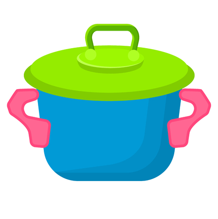 Blue toy saucepan with green top isolated vector illustration. Kitchen utensils for children play in flat style design on white background Illustration