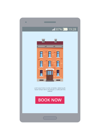 Book now mobile application representing a picture of building with additional information below and button on vector illustration