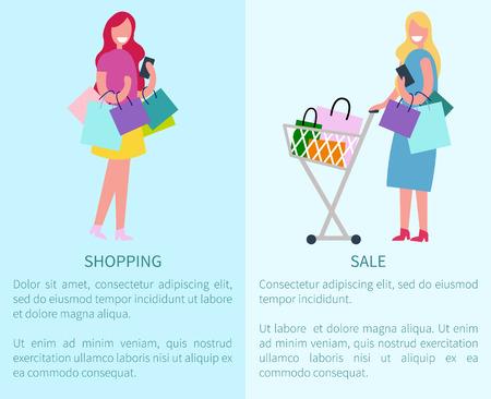 Compras y venta Conjunto de dos ilustraciones vectoriales Foto de archivo - 91261693