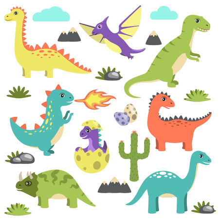 Set of Dinosaurs Icons on Vector Illustration