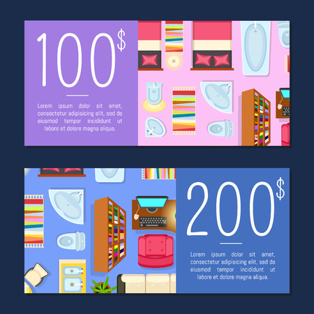 100 and 200 Dollars Room Price Vector Illustration