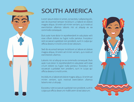 South america, culture and customs represented by man wearing hat and white costume and woman dressed in blue vector international day poster with text Vectores
