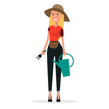 Woman Gardener with Watering Can and Scoop Vector Illustration